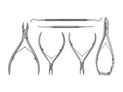 Podologen Set für DIABETIKER- Podologie Instrumente-Set 6- teilig- speziell abgerundete Spitzen- Nagelzangen+Hautzange+Kopfschneider+Nagelreiniger-NEU inkl. ETUI- rostfreier Edelstahl