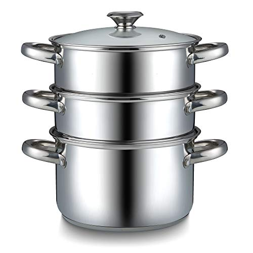 Cook N Home Stainless Steel Saucepan Double Boiler Steamer, 4Qt, Silver
