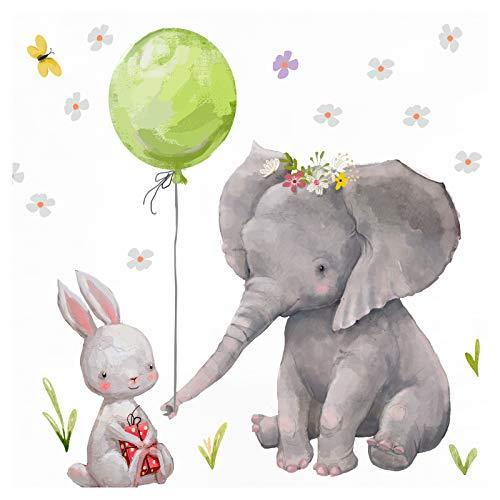 Little Deco Wandtattoo Kinderzimmer Mädchen Hase & Elefant mit grünen Ballon Sterne Babyzimmer Aufkleber Sticker Wandaufkleber Junge Wandsticker Kinder DL209-6