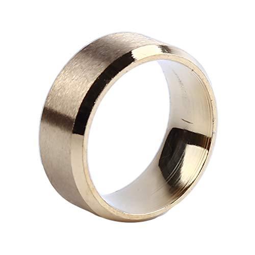 #N/A Ristiege - Anillo de acero inoxidable mate doble biselado, anillo de acero inoxidable, anillo liso, dorado, 62,1 mm