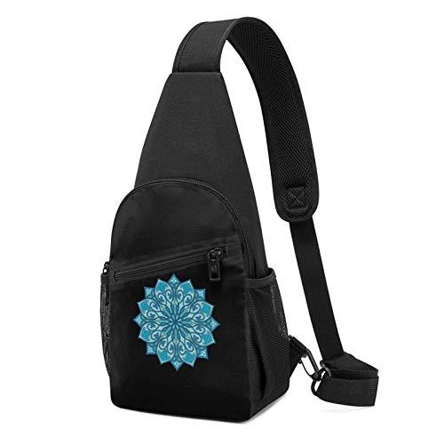 DJNGN Mochila ultraligera azul con diseño de mandala en el pecho Mochila ultraligera