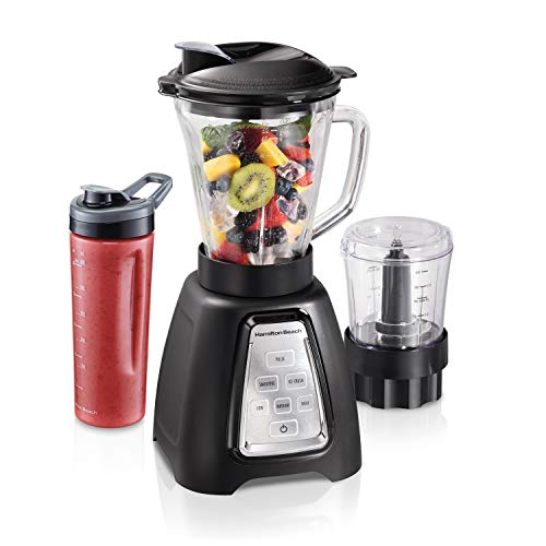 Hamilton Beach Multiblend 3-Speed Blender & Food Chopper with 3 Programs, 950W, 52oz Glass Jar, 3 Cup Vegetable Dicer & Portable Blend-In Travel Jar For Shakes & Smoothies, Black (58242)