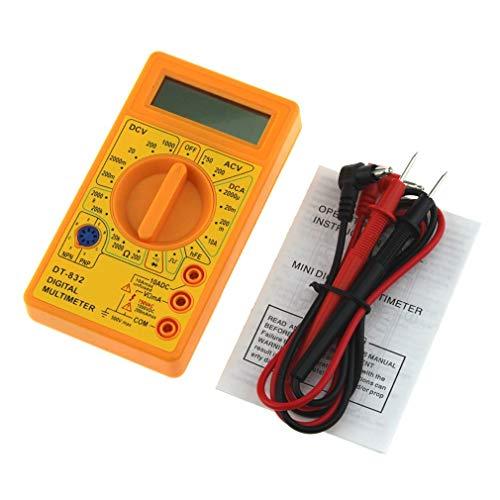 Nrew DT-832 Mini multímetro Digital CA/CC Voltios Amp Ohmios Diodo hFE Probador de continuidad Amarillo