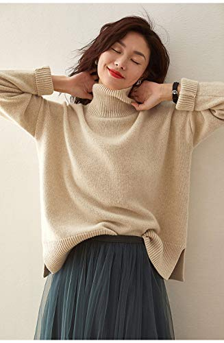 Jerséis para Mujer,Autumn Winter Chunky Womens Knitted Jumper Ladies Long Sleeve Turtleneck Sweater Pullover Stretchy Lightweight Tops Jumpers,Beige,M