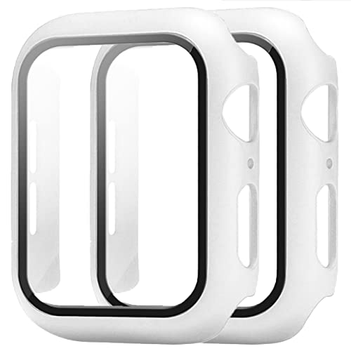 gherry 2 Pack Suitable for Apple Watch Series 7 41mm 45mm Case Slim Matte Hard Cover Screen Protector (45mm,White)
