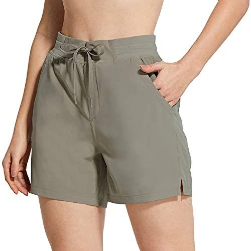Pantalones Cortos de Yoga de Color Sólido para Mujer Pantalón Deportivos con Bolsillos Laterales Pantalones de Deporte con Cordón Ajustables Shorts Casual Suelto Ideal para Correr Pilate Fitness