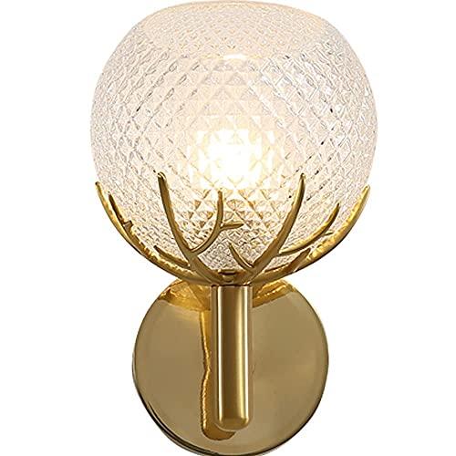 LBMTFFFFFF Lámpara de Pared Soporte de Luz Luz de Estilo Americano Aplique de Lujo Lámpara de Pared Soporte Dendrítico de Re Dorado Iluminación de Pared Pantalla de Vidrio en Forma de Lágrima Lámpara