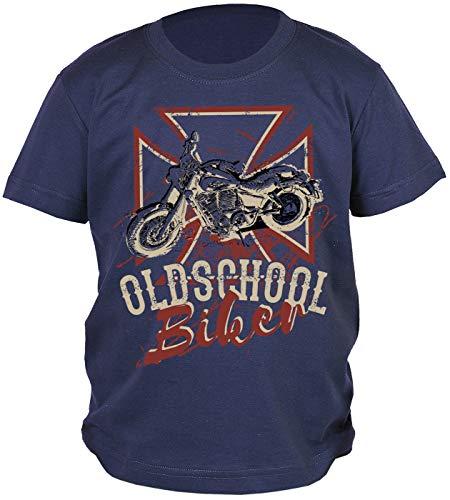 Bikerkreuz Motorrad Motiv Kindershirt - Kinder T-Shirt Biker : Oldschool Biker - Kinder Motorrad Sprüche Shirt Cross Gr: XL