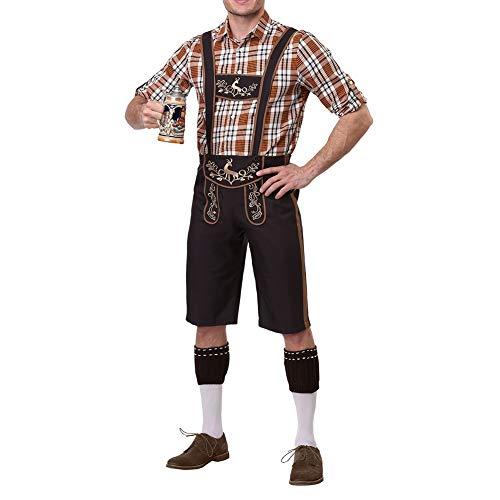 ACHICOO Ein Überraschungs-Kostüm für einen Freund Männer Cosplay bayerischen traditionellen Anzügen Plaid Shirts + Hosenträger Pants + Cap Kleidung Coffee M