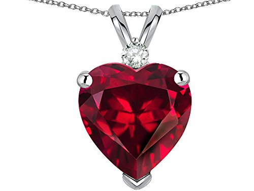 Star K 8mm Heart Shape Created Ruby Heart Pendant Necklace 14 kt White Gold