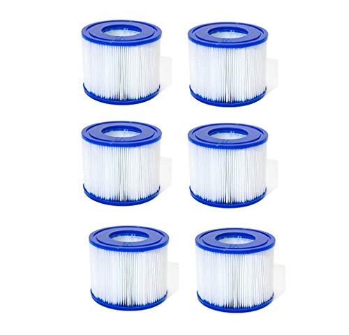 SYANO Filterkartusche, aufblasbarer Pool-Filter, Filter Cartridge VI für Miami,Monaco Spa 58323 Filterkartusche Ersatz für Rohrreinigung Pool-Filterkartusche Größe VI für Bestway.(6PCS)