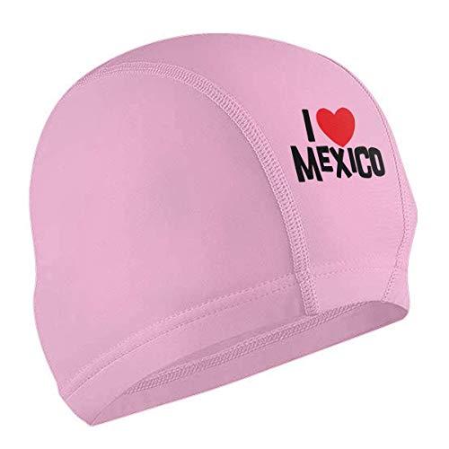 Uosliks I Love Mexico - Gorro de natación para adultos (silicona, impermeable, cómodo, para pelo corto y largo)