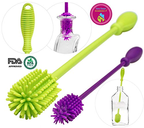 A-Brush Silicone Bottle Brush Cleaner BPA Free - Long Handle Baby Bottle Cleaner Nipple Brush Ideal for Glass & Plastic Water Bottles Tumblers Hydro Flask (Set of 2pcs Green/Purple)