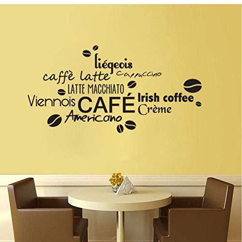 Französische Kaffee Sprichwörter Kunst Aufkleber Restaurant Küche Abnehmbare Vinyl Wandaufkleber Diy Home Decor Wasserdichte Tapete 55X28Cm