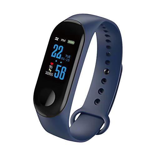 Konesky Fitness Tracker Monitor de Ritmo cardíaco Pulsera de presión Arterial Actividad Reloj Podómetro Contador de calorías Pulsera para Android iOS Smartphone (Azul)