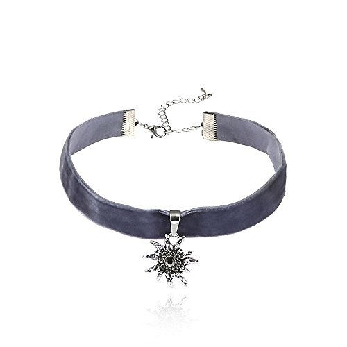 Alpenklunker Halsband Choker Kropfband Edelweiß viele Farben passend zum Dirndl Tracht Schmuckrausch Farbe Dunkel grau