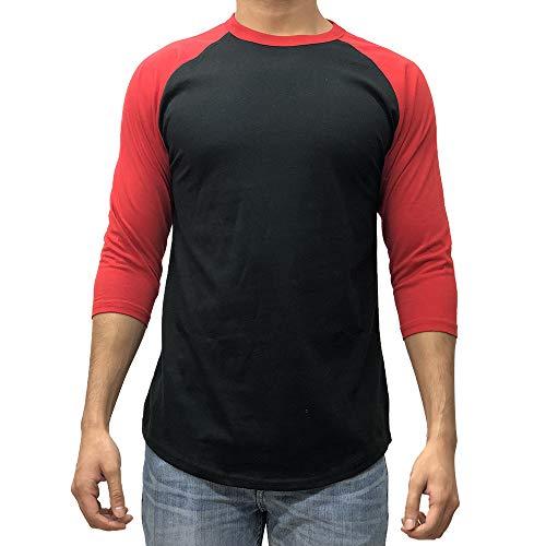 Kangora Men's Plain Raglan Baseball Tee T-Shirt Unisex 3/4 Sleeve Casual Athletic Performance Jersey Shirt (Black Red, Large)