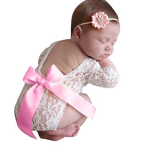 FAMKIT Juego de 2 piezas de ropa para sesión de fotos para recién nacido, mameluco y diadema de encaje para fotografía