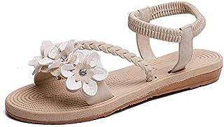 Summer Shoes Woman Sandals Elastic ankle strap Flat Sandalias Flowers Gladiator Beach Sandals Ladies Flip Flops Simple elegant sandals and slippers (Color : Beige, Shoe Size : 6.5)