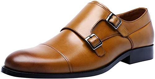Santimon Herren Lederschuhe Anzugschuhe mit Schnalle Klassisch Derby für Business Freizeit Monkstrap Schuhe Schwarz Braun 39 EU