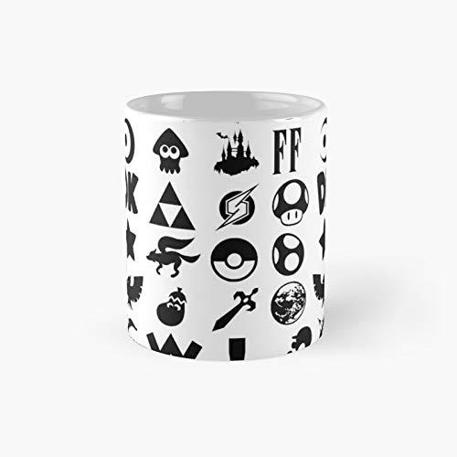 Super Smash Bros Ultimate Series Logos Black Icons Classic Mug   El mejor regalo divertido tazas de café 12 oz