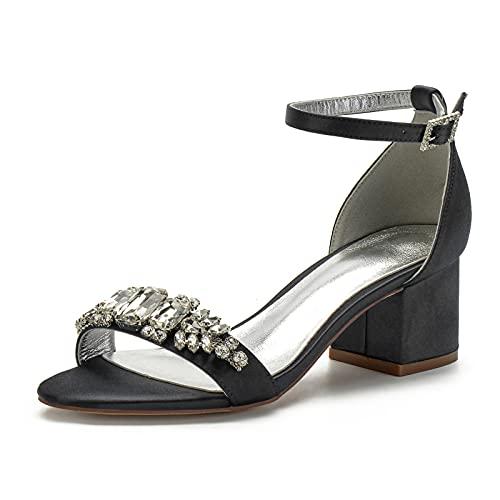 AQTEC Zapatos de Tacón Bajo Cuadrado para Mujer Verano Punta Abierta de...