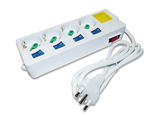 Vetrineinrete® Multipresa schuko ciabatta elettrica a 4 posti polivalenti 10/16A con interruttore generale on/off e 4 interruttori indipendenti 250V max 2500 watt cavo 1,5 m con spina italiana B27