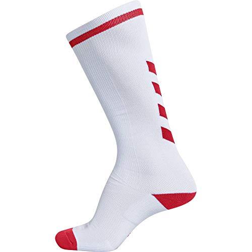 hummel Elite Indoor Sock HIGH, Weiß/True Rot, 39/42