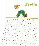 Wolimbo Soft-Peach Babydecke mit Wunsch-Namen und Motiv RAUPE NIMMERSATT 75x100 cm - personalisierte/individuelle Geschenke für Babys und Kinder zur Geburt, Taufe und Geburtstag