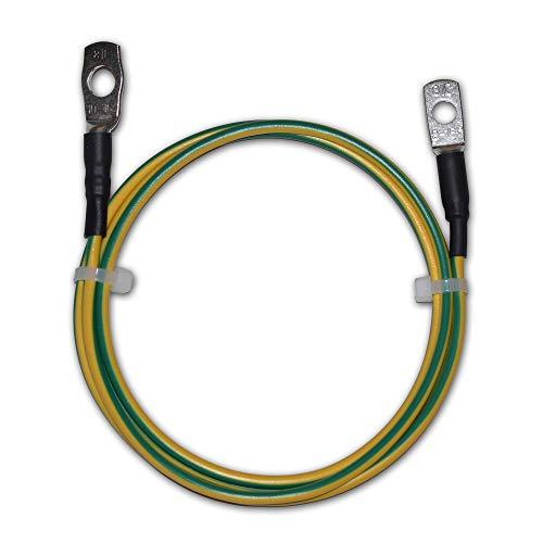 EBROM Erdungskabel 3 m Erdungsleitung H07V-K 16 mm² grün/gelb Erdungsleiter – Länge: 3 Meter + Kabelschuhe Ringöse M8 (8 mm) und M10 (10 mm) - Made in Germany - 16mm2 passend für Kreuzerder Staberder