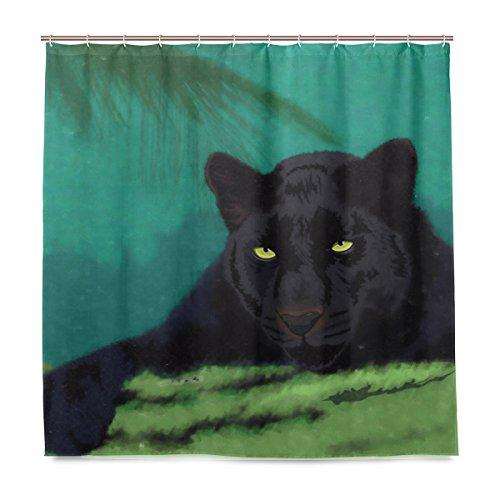 Yibaihe Duschvorhänge Badezimmer-Gardinen inkl. 12 Haken Wild Cats Panther bedruckter Polyester-Stoff schimmelresistent wasserdicht für Badezimmer Badewannen