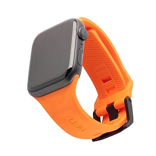 Urban Armor Gear Scout Armband für Apple Watch 42mm / 44mm [Watch SE, Series 6 / Series 5 / Series 4 / Series 3 / Series 2 / Series 1, Weiches Silikon Ersatzband, Edelstahl Verschluss] orange