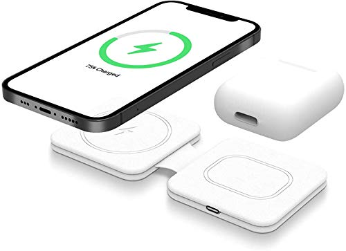Power Technology - Cargador inalámbrico magnético Mag-Safe, doble cargador plegable, compatible con Apple Watch, Airpods y iPhone 12 Mini, iPhone 12, iPhone Pro, iPhone 12 Pro Max