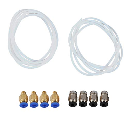 KTZAJO 2 Pieces PTFE PTFE Tube (2 Meters) + 4 Pieces Pc4-M6 Quick Fitting + 4 Pieces Pc4-M10 Straight Pneumatic Fitting Push to Connect for 3D Printer 1.75Mm Filament