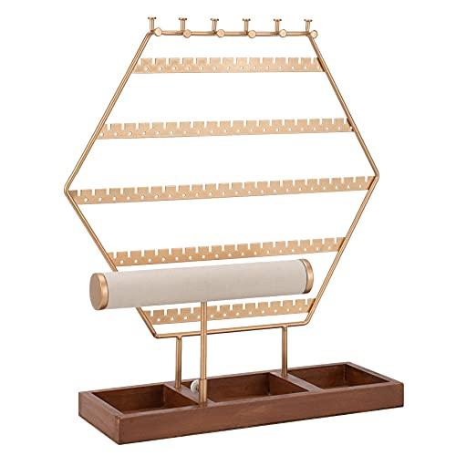 QILICZ Soporte para joyas y pendientes, soporte para joyas – Organizador de pendientes con anillo y cadenas – Estante para joyas en forma de T y base de madera – Almacenamiento de joyas