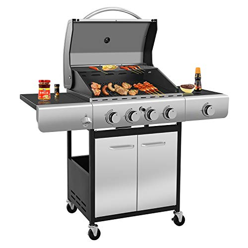 R.W.FLAME 42000 BTU Liquid Propane Gas Grill with 4-Burner, Temperature Display, Bottle Opener, Side Burner, Enamelled Cooking Grills, Stainless Steel Gas BBQ Wagon