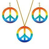 SKYVII Hippie Costume Jewerly Set 60s 70s Rainbow Peace Sign Colgante Collar Pendientes