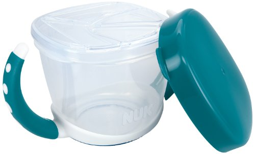NUK 10255200 Easy Learning Snack Box, praktische Aufbewahrung kleiner Snacks für unterwegs, mit Deckel, BPA frei, petrol