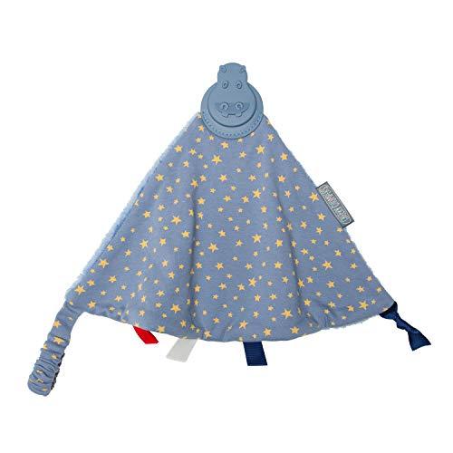 Colcha de bebé con mordedor de silicona integrado más juguetes sensoriales - Comfortchew de Cheeky Chompers 4 en 1 – Regalo para bebé perfecto & esencial para recién nacidos – (Midnight Stars)