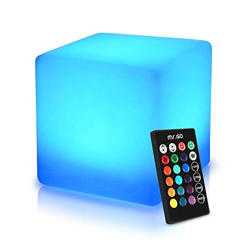 Mr.Go 40cm LED Würfel Licht Außen Wasserdichter Würfelhocker mit Fernbedienung, RGB-Farbwechsel, 16 Einstellbare Farben, Batteriebetriebene, Dimmbare Nachtlicht zum Wohnzimmer
