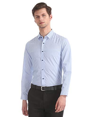 Arrow Men's Striped Slim fit Formal Shirt (ANYSH0109_Lt. Blue 40)
