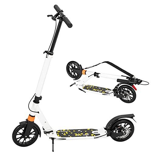 Mantimes Scooter plegable adulto con freno de mano de disco, blanco ajustable del amortiguador de choque del doble de la vespa del empuje de la calle
