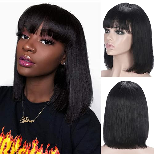 Short Bob Wigs Human Hair with Bangs Straight Bob Wigs with bangs Human Hair Wig Non Lace Brazilian Remy Wigs 130% Density Short Bob Wig Glueless Machine Made Wigs for Black Women Natural color 12 inch