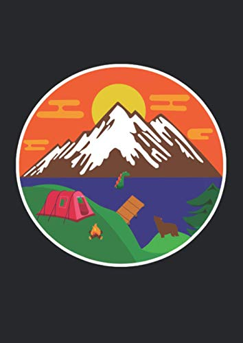 A4 Notizbuch liniert mit Softcover Design: Camping Outdoor Zelt Zelten Van Life Berge See Meer Sonne: 120 linierte DIN A4 Seiten