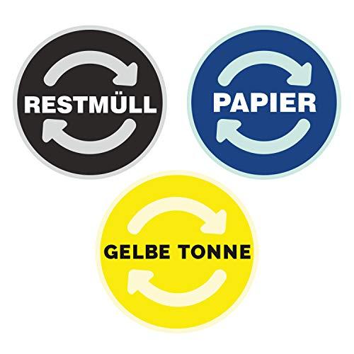 deformaze Sticker Set RESTMÜLL PAPIER GELBE TONNE Aufkleber Mülltonne Mülleimer Recycling Abfall Mülltrennung Wertstoffkennzeichnung UV Wetterfest 9cm