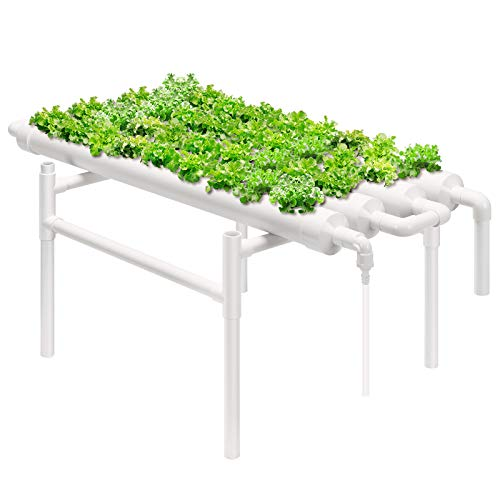 VIVOSUN Hydroponic Grow Kit, 1 Layer 36 Plant Sites 4 PVC Pipes Hydroponics Growing System with Water Pump, Pump Timer, Nest Basket and Sponge for Leafy Vegetables