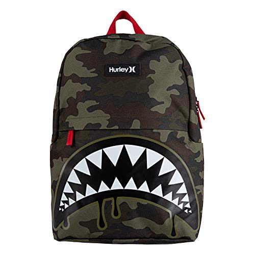 Hurley Boys' One and Only Backpack, Green Camo Shark B ite, L