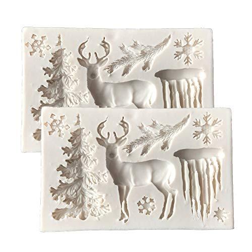 DUBENS 2 Stück 3D Weihnachten Baum Elch Hirsche Schneeflocke Silikon Fondant Kuchen Dekorieren Form Schokolade Gelee Backform Zucker Handwerk Werkzeuge