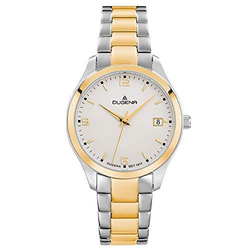 DUGENA Damen-Armbanduhr Tresor Woman, Quarz, Edelstahlgehäuse, Saphirglas, Edelstahlarmband, Drückerfaltschließe, 10 bar (Bicolor/Bicolor/weiß)