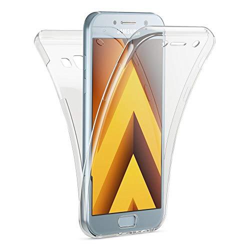 Kaliroo Housse 360 Degrés Compatible avec Samsung Galaxy A3 2017 Coque, Transparent Full-Body Silicone Gel Cover Avant & Arrière Case, Mince Anti-Choc Protege Couverture Integrale Protection d'Ecran